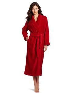 Casual Moments Women`s 52 Shawl Collar Wrap Robe With Waffle Trim $65.60