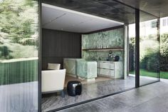Home Interior Salas Impressive Private Residence, Munich - Germany - The Cool Hunter - The Cool Hunter Architectural Digest, Cedar Paneling, Christian Liaigre, Stone Facade, New Energy, Green Onyx, Architecture, White Walls, Houses
