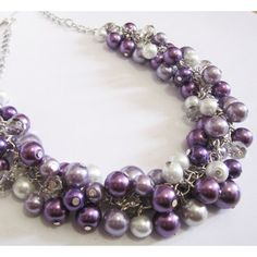 Bridesmaid Jewelry, Purple Cluster Necklace, Pearl Necklace, Plum... ($25) ❤ liked on Polyvore featuring jewelry, cluster jewelry, pearl jewellery, purple jewelry, purple jewellery and party jewelry