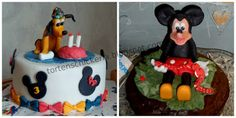 Disney Pluto Fondant third birthday cake with bows and mickey mouse