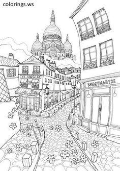 Nappe à Colorier Monuments De Paris Coloring Pages Pinterest