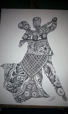 Dancing couple Zentangle art. LakeTyeDye says: Not only is this drawing amazing, it gave me an idea to use a Zentangle design instead of the traditional flat-black-paper silhouette for each of my family members. You could incorporate places & items that have meaning to each silhouette. <3