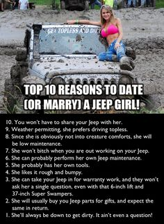 To my dear husband. Aren't you glad you married a Jeep girl? I hope you have some Jeep parts under the Christmas tree for me. Srt8 Jeep, Mopar, Jeep Jku, Jeep Quotes, Truck Quotes, Jeep Humor, Toyota, Babe, Jeep Parts