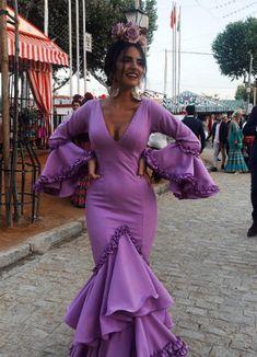 Flamenco Costume, Flamenco Dancers, Spanish Dress Flamenco, Flamenco Dresses, Spanish Woman, Bridal Jumpsuit, Beautiful Long Hair, Purple Dress, Traditional Outfits