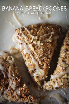Banana Bread Scones with Maple Glaze || PasstheSushi.com