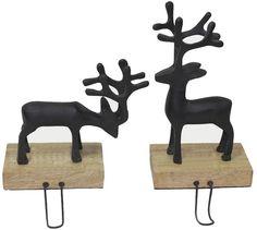 St. Nicholas Square® Pewter Deer Stocking Hanger 2-piece Set