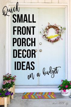 Quick and easy small front porch decorating ideas! These are easy and budget friendly! Look how colorful it is! : Quick and easy small front porch decorating ideas! These are easy and budget friendly! Look how colorful it is! Summer Front Porches, Small Front Porches, Small Patio, Summer Porch Decor, Diy Porch, Porch Ideas Summer, Small Porch Decorating, Decorating Ideas, Decor Ideas