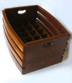 The Barrel Crate, recycled wine barrel staves beer or wine stackable crate, carrier. Mahogany or Golden oak color Barris, Wine Folly, Barrel Projects, Wine Barrel Furniture, Bourbon Barrel, Oak Color, In Vino Veritas, Wine Storage, Wine Rack