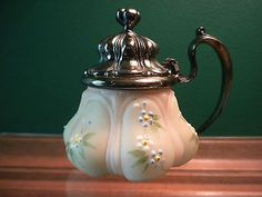 "RARE MT WASHINGTON CROWN MILANO MUSTARD POT JAR, 2 3/4"" T, FORGET-ME-NOTS, EXC."