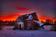 Sunset, snow, Unknown Location by Eric Demattos.