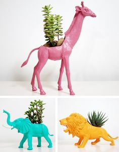 animal toy planters I want this so bad