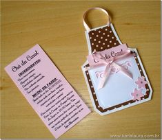 This Pin was discovered by Beatriz Garcia.) your own Pins on Convites para Chá de Panela Debut Ideas, Diy And Crafts, Paper Crafts, Baking Party, Candy Bouquet, Recipe Cards, Party Cakes, Baby Shower Themes, Cardmaking