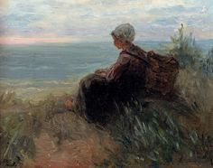 Jozef Israels Dutch Realist painter 1824-1911 A Fisher girl On A Dunetop Overlooking The Sea