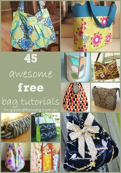45 Awesome Free Bag Making Tutorials You can never have enough bags! Whether you're a beginner sewer or advanced, here are 45 tutorials to help you sew your own. If you really like arts and crafts you actually will love our info! Bag Tutorials, Sewing Tutorials, Sewing Crafts, Tutorial Sewing, Sewing Projects, Diy Handbag, Diy Purse, Patchwork Bags, Quilted Bag