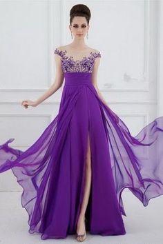 Sexy-A-Line-Sheer-Illusion-Boot-Ausschnitt-Lang-Lila-Chiffon-Perlen-Abendkleid-Mit -., Sexy-A-Line-Sheer-Illusion-Boat-Neck-Long-Purple-Chiffon-Beaded-Prom-Dress-With-. Sexy-A-Line-Sheer-Illusion-Boot-Ausschnitt-Lang-Lila-Chiffon-Perle. Elegant Dresses, Sexy Dresses, Fashion Dresses, Prom Dresses, Formal Dresses, Wedding Dresses, Dresses 2016, Long Dresses, Formal Wear