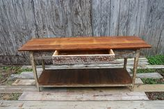 Heart Pine console with Drawer from reclaimed wood. Landrum Tables Charleston, SC http://www.landrumtables.com