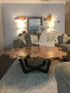 Fine Wood Table Designs Look around as you move throughout your day. From mailbox posts to pieces of furniture and art to full buildings, the power to use wood to create is Wood Slab Table, Wood Table Design, Wooden Tables, Rustic Wood Coffee Table, Wood Slice Coffee Table, Coffee Tables, Tree Trunk Coffee Table, Natural Wood Coffee Table, Unique Coffee Table