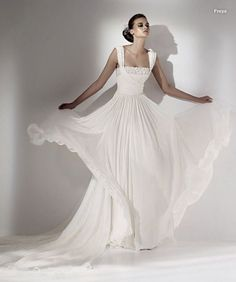 Gorgeous grecian-inspired white wedding dress by Elie Saab