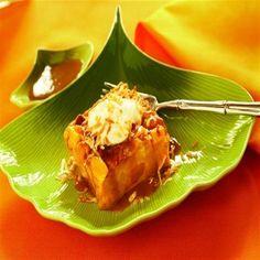 Banana-Mango Bread Pudding with Coconut Caramel Sauce