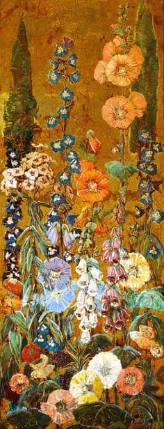 stilllifequickheart: 20th CMary Elizabeth Price (American Impressionist, 1877-1965) ~Hollyhock Panel