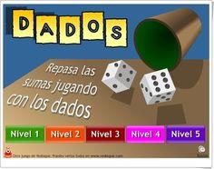 """""""Dados"""", de Vedoque, es un juego en el que hay que componer un número dado por medio de la suma en tiempo limitado. En cinco niveles de dificultad, desde muy sencillos, para Educación Infantil, hasta casos mucho más complicados."""