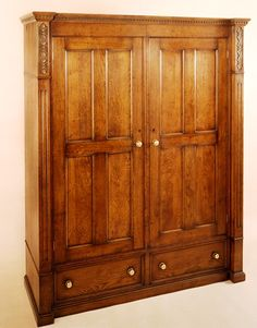 Oak double wardrobe, with two drawers. Decorative features include dentil moulding, fluted columns and hand carving. Oak Wardrobe, Double Wardrobe, Oak Bedroom Furniture, Wardrobe Furniture, Dentil Moulding, Fluted Columns, Bedside Cabinet, Chest Of Drawers, Cupboard