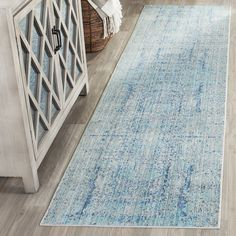 "Amazon.com: Safavieh Mystique Collection MYS971D Vintage Watercolor Light Blue and Multi Runner (2'3"" x 6'): Kitchen & Dining"