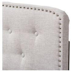 Lucy Modern and Contemporary Fabric Headboard - Queen - Greyish Beige - Baxton Studio, Beige Gray
