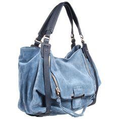 Kooba Jonnie (€270) ❤ liked on Polyvore featuring bags, handbags, blue, borse, purses, ocean, blue satchel handbags, kooba handbags, purse satchel and blue purse