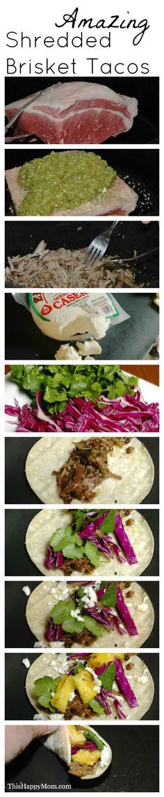 Amazing Shredded Brisket Tacos. Super easy crockpot recipe.