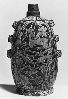 Pilgrim Bottle; Italian, slipware, circa 1650