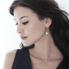 Boucles d'oreilles or 375 jaune perle de culture de chine