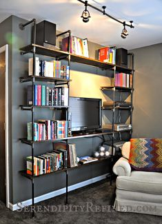 Serendipity Refined Blog: DIY Industrial Pipe Shelves for the Apartment: A Tutorial