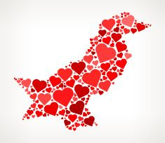 Pakistan Icon with Red Hearts Love Pattern vector art illustration