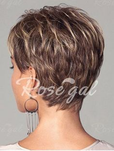 Fashion Fluffy Side Bang Blonde Mixed Brown Elegant Short Straight Synthetic Capless Wig For Women -   Mobile