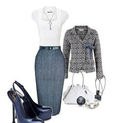Women's outfit idea LOVE THIS!! Need it!! Love this minus the blazer #career #work #fashion heels pumps grey navy pencil skirt