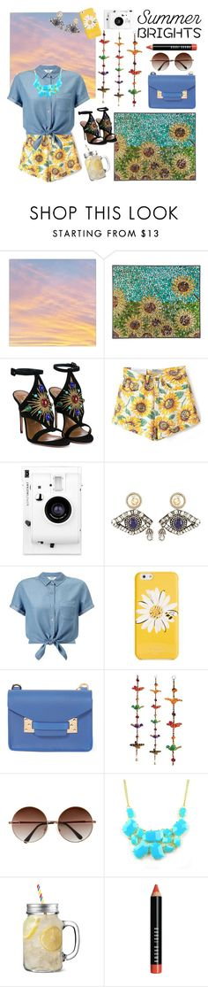 """""""~ Summery sunflowers ~"""" by forgetmeenotz ❤ liked on Polyvore featuring Aquazzura, Lomography, Gucci, Miss Selfridge, Kate Spade, Sophie Hulme, Emi Jewellery, Bobbi Brown Cosmetics and summerbrights"""