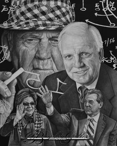 Nick & Terry Saban, Mal Moore, & Paul Bear Bryant are all featured in my newest Alabama Football Tribute called Timeless Tide Tradition. View all of my available sport series artwork here: 13x16 Original drawing of Auburn Head Coach Gus Malzahn. I was fortunate enough to meet Coach Malzahn and he signed this artwork.  View all of my available sport series artwork here: http://baylissgallery.com/artwork-for-sale/sports-series