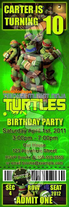 Teenage Mutant Ninja Turtles Ticket Style Personalized Party Invitations, $5.99