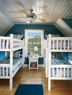 White bunk beds, coastal blue color theme, ceiling fan, and a big window, too!