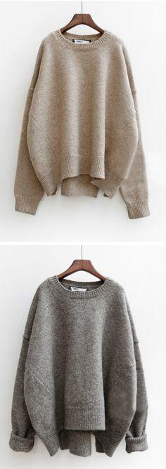 Women's Heathered Round Neck Asymmetric Knit Sweater