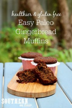 Easy one bowl paleo gingerbread muffins recipe - gluten free, grain free,. Healthy Christmas Recipes, Healthy Dessert Recipes, Vegan Snacks, Healthy Breakfasts, Healthy Dishes, Healthy Desserts, Healthy Meals, Gingerbread Muffins Recipe, Dairy Free