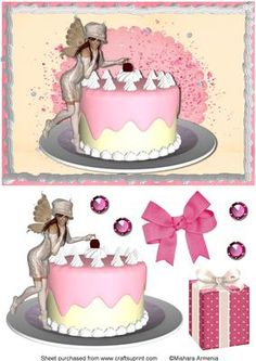Nina2 on Craftsuprint designed by Mishara Armenia - A very cute and playful fairy girl with cake - Now available for download!