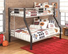 Dinsmore - Twin/Full Bunk Bed by Signature Design by Ashley. Get your Dinsmore - Twin/Full Bunk Bed at Owen's Home Furnishings, Clinton NC furniture store. Metal Bunk Beds, Bunk Beds With Stairs, Kids Bunk Beds, Kids Bedroom Sets, Kids Bedroom Furniture, Bedroom Decor, Modern Bedroom, Modern Beds, Bedroom Boys