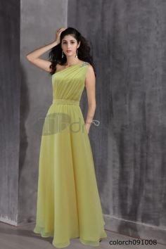 The yellow dress one shoulder dress dress 2012 ground dress