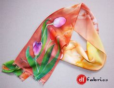 Orange floral scarf. Silk scarf with tulips. by Elffabrics on Etsy