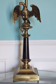 Vtg Brass STIFFEL USA Cast American Eagle Federal Empire Style Table Lamp Heavy #AmericanHollywoodRegencyEmpire #Stiffel