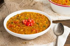 Indian Red Lentil Stew- Sooooo flavorful and healthy! Vegetarian Soup, Healthy Soup, Vegetarian Recipes, Healthy Recipes, Red Lentil Soup, Lentil Curry, Indian Food Recipes, Ethnic Recipes, Chowder Soup