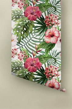 Transform any room in your home into a Hawaiian paradise with this self-adhesive wallpaper! This vinyl wallpaper features a bright and tropical print of hibiscus, fern, monstera leaves and heliconia wall decals. Magenta Hibiscus flowers and heliconia are paired with fern and monstera leaves, all over a white background. One look at this adhesive wallpaper and you will think you are in Hawaiian paradise!  ➢ SIZE You have the option of two sizes for your personal Hawaiian room décor: Small…