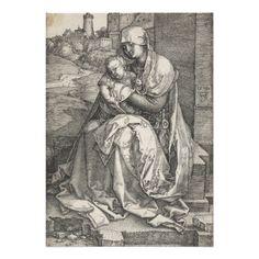 #Virgin Sitting by a Wall by Albrecht #Durer #Invite #renaissance #art #engraving